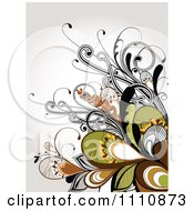 Clipart Floral Background With Vines Royalty Free Vector Illustration