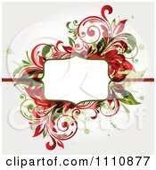 Red And Green Floral Frame With Grunge And Copyspace