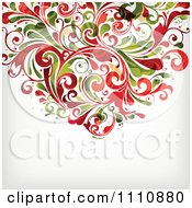 Grungy Red And Green Floral Background With Copyspace 1