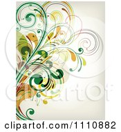 Clipart Green Floral Background With Copyspace 3 Royalty Free Vector Illustration