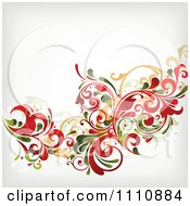 Clipart Grungy Red And Green Floral Background With Copyspace 1 Royalty Free Vector Illustration