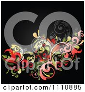 Clipart Red And Green Floral Background With Copyspace On Black Royalty Free Vector Illustration