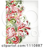 Red And Green Christmas Floral Background With Copyspace
