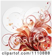 Grungy Red And Orange Floral Background With Copyspace