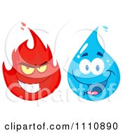 Clipart Water Drop And Fire Royalty Free Vector Illustration by Hit Toon
