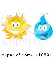 Clipart Water Drop And Sun Royalty Free Vector Illustration
