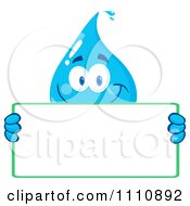 Clipart Water Drop Holding A Sign Royalty Free Vector Illustration by Hit Toon