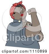 Clipart Chubby Black Rosie The Riveter Flexing Her Strong Muscles Royalty Free Vector Illustration