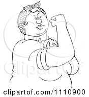 Clipart Outlined Chubby Rosie The Riveter Flexing Her Strong Muscles Royalty Free Vector Illustration