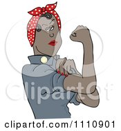 Clipart Black Rosie The Riveter Flexing Her Strong Muscles Royalty Free Vector Illustration