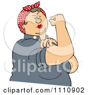 Clipart Chubby Rosie The Riveter Flexing Her Strong Muscles Royalty Free Vector Illustration by Dennis Cox