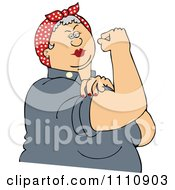 Chubby Gray Haired Rosie The Riveter Flexing Her Strong Muscles