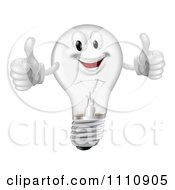 Clipart Pleased Clear Lightbulb Mascot Holding Two Thumbs Up Royalty Free Vector Illustration