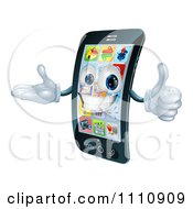 Clipart 3d Cell Phone Mascot Holding A Thumb Up Royalty Free Vector Illustration