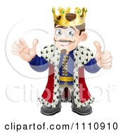 Clipart Pleased King Holding A Thumb Up And Waving Royalty Free Vector Illustration