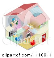 Clipart Networking And Wireless Items In A House Royalty Free Vector Illustration