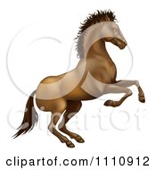 Clipart Rearing Brown Horse Royalty Free Vector Illustration