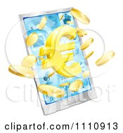 Clipart 3d Cell Phone With A Gold Euro Symbol And Coins Bursting From The Screen Royalty Free Vector Illustration by AtStockIllustration