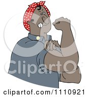 Clipart Chubby Black Rosie The Riveter Man Flexing His Muscles Royalty Free Vector Illustration