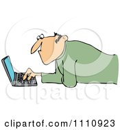 Clipart Man Propped Up On His Elbows And Using A Laptop On The Floor Royalty Free Vector Illustration