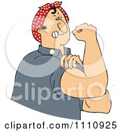 Clipart Chubby Rosie The Riveter Man Flexing His Muscles Royalty Free Vector Illustration by djart