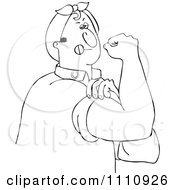 Clipart Outlined Chubby Rosie The Riveter Man Flexing His Muscles Royalty Free Vector Illustration