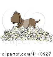 Clipart Hound Dog Protecting His Pile Of Bones Royalty Free Vector Illustration by djart
