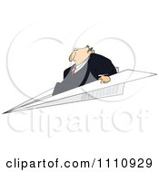 Clipart Businessman Flying On A Paper Plane Royalty Free Vector Illustration