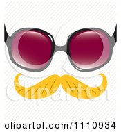 Clipart Blond Disguise Mustache With Sunglasses Over A Diagonal Stripe Pattern Royalty Free Vector Illustration by Cherie Reve