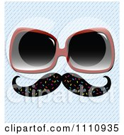 Clipart Disguise Mustache With Sunglasses Over A Diagonal Stripe Pattern Royalty Free Vector Illustration by Cherie Reve