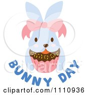 Clipart Blue Easter Bunny With A Bow Cupcake And Text Royalty Free Vector Illustration by Cherie Reve