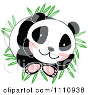 Clipart Cute Panda Curled Up On Bamboo Leaves Royalty Free Vector Illustration by Cherie Reve
