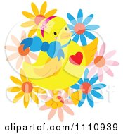 Clipart Happy Chick With A Heart Bow And Flowers Royalty Free Vector Illustration by Cherie Reve