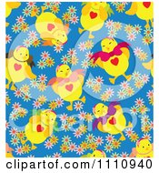 Clipart Seamless Pattern Background Of Chicks And Flowers On Blue Royalty Free Vector Illustration by Cherie Reve