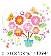 Clipart Spring Flowers In A Pot And Butterflies Royalty Free Vector Illustration by Cherie Reve