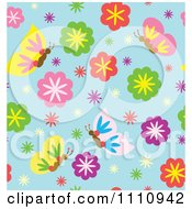 Clipart Seamless Pattern Background Of Spring Flowers And Butterflies On Blue Royalty Free Vector Illustration by Cherie Reve