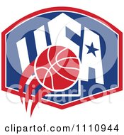 Clipart Basketball Over A Patriotic Usa Back Board Shield 1 Royalty Free Vector Illustration