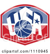 Clipart Basketball Over A Patriotic Usa Back Board Shield 2 Royalty Free Vector Illustration