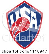 Clipart Basketball Over A Patriotic Usa Back Board Shield 3 Royalty Free Vector Illustration