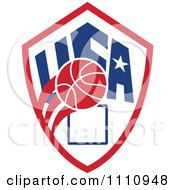 Clipart Basketball Over A Patriotic Usa Back Board Shield 4 Royalty Free Vector Illustration