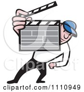 Clipart Retro Movie Director Holding A Clapper Board Royalty Free Vector Illustration