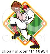 Clipart Baseball Player Pitching Over A Field Diamond Royalty Free Vector Illustration