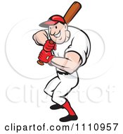 Clipart Happy Baseball Player At Bat Royalty Free Vector Illustration