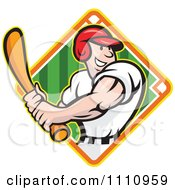 Clipart Happy Baseball Player Batting Over A Field Diamond 2 Royalty Free Vector Illustration