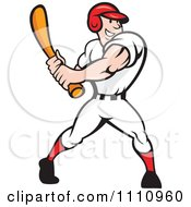 Clipart Happy Baseball Player Swinging A Bat Royalty Free Vector Illustration