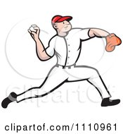 Clipart Baseball Player Pitcher Throwing Royalty Free Vector Illustration