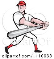 Clipart Happy Baseball Player Batting Royalty Free Vector Illustration