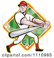 Clipart Happy Baseball Player Batting Over A Field Diamond 3 Royalty Free Vector Illustration