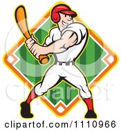 Clipart Happy Baseball Player Batting Over A Field Diamond 1 Royalty Free Vector Illustration