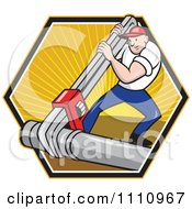Clipart Retro Plumber Using A Giant Monkey Wrench On A Pipe Over A Hexagon Of Rays Royalty Free Vector Illustration